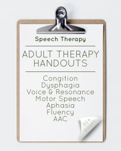 Speech Therapy Adult Therapy Handouts (90+ Pages)
