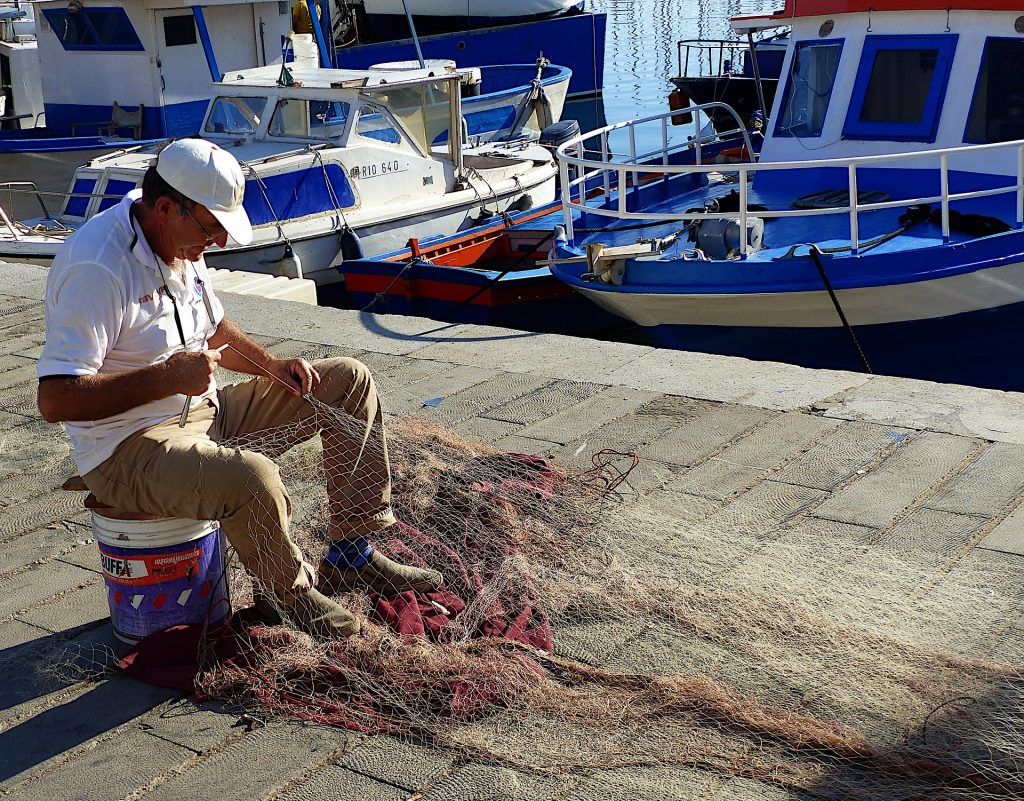 fisherman net boat picture description for speech therapy aphasia, motor speech, visual neglect