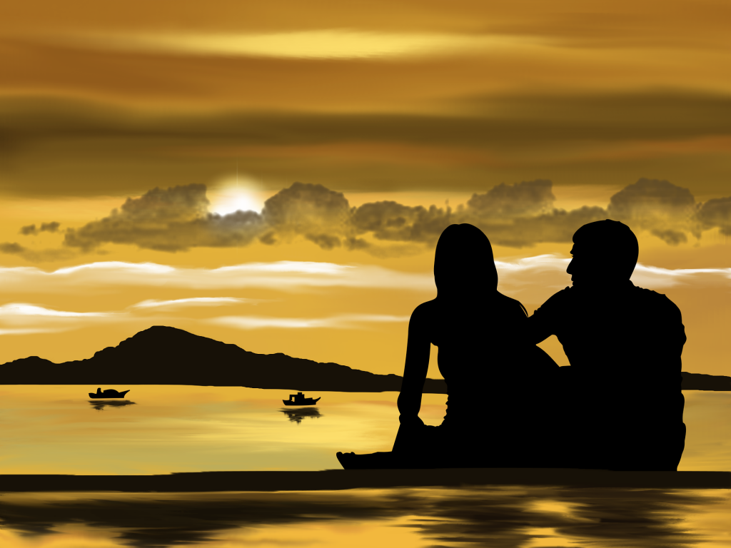 couple sunset boats picture description for speech therapy aphasia, motor speech, visual neglect