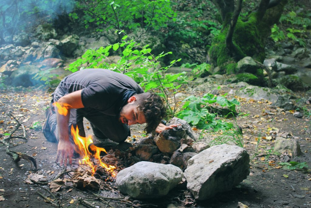 camping fire nature picture description for speech therapy aphasia, motor speech, visual neglect