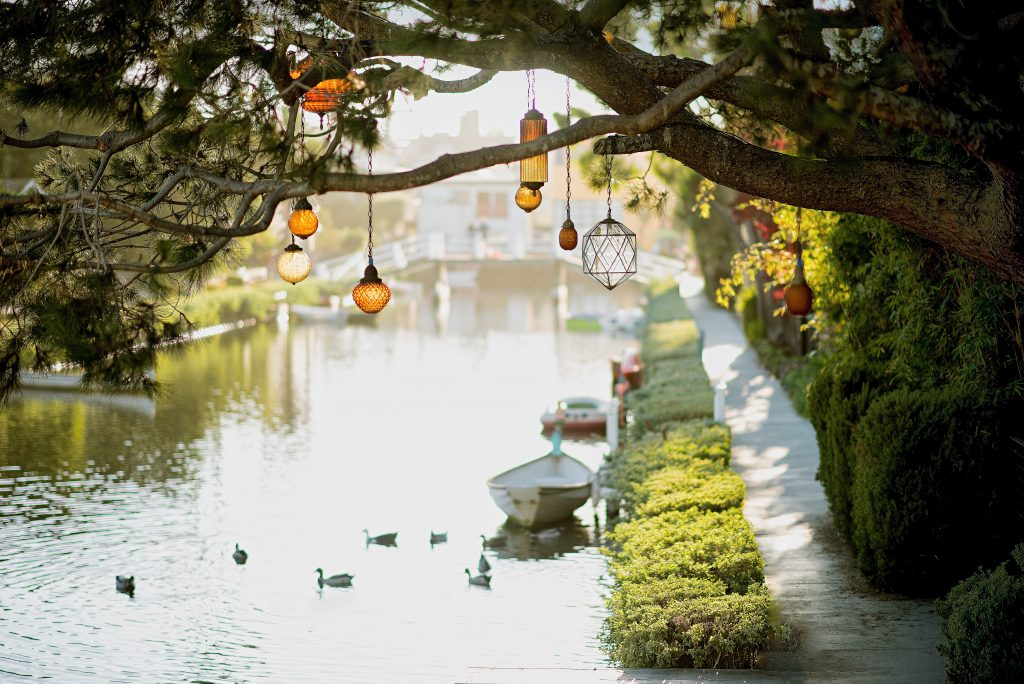 boat lanterns river canal picture description for speech therapy aphasia, motor speech, visual neglect